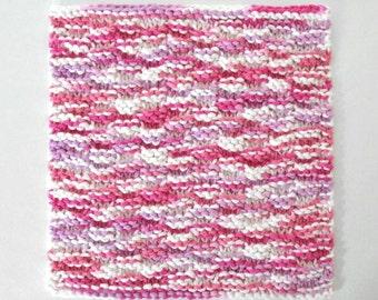 Knit Washcloth, Cotton Dishcloth, Face Cloth, Pink and Purple Cotton Washcloth