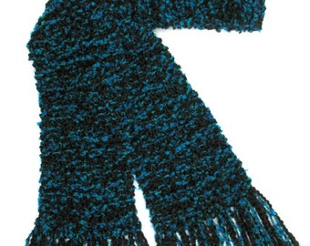 Black Teal Scarf, Long Hand Knit Scarf, Men Women Knitted Scarf,  Black Blue Scarf