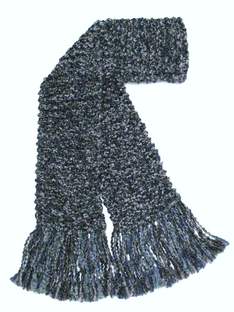 Knitting Chunky Scarves : Gray scarf long chunky knit men or women hand