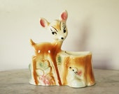 Vintage 1950s Bambi and Thumper Disney Productions Deer and Bunny Ceramic Wall Pocket Planter Made by Leeds