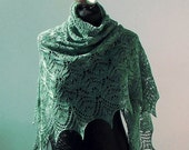 Emerald Green hand knitted luxurious merino and silk lace shawl