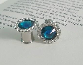 VINTAGE Style blue rhinestone plugs Gauges 0g, 00g t142