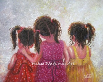 Three Sisters Art Print, three girls art, brunette girls wall art, childrens art, sister love, pink, red, mother's day gift, Vickie Wade art