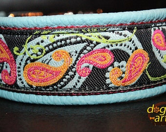 """Dog Collar """"Paisley Perfection"""" by dogs-art, leather dog collar, blue dog collar, boy dog collar, custom dog collar, dog collar leather, dog"""
