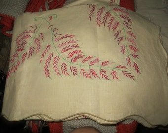 Vintage.  Never used khaki color hand embroidery   linen tablecloth 66 x 49