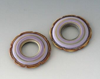 Rustic Ruffle Discs - (2) Handmade Lampwork Beads - Sable, Lavender