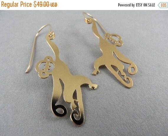 SALE 40% OFF hanging monkey earrings, golden monkey earrings, monkey earrings, animal earrings