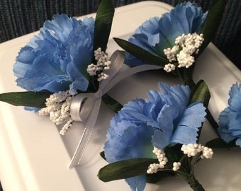 Wedding Ceremony Bouttonniere Set of 7 Blue White Carnation Small Corsages Silk Handmade Wedding Ceremony Picture Accessories G