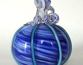 Hand Blown Glass Pumpkin Cobalt Blue and White Swirl with Turquoise Green Cane Pumpkin Halloween Pumpkin Autumn Decor
