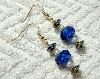 Ice Blue Earrings - Bright Blue Earrings - Dangle Earrings - Earrings - E134
