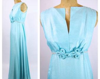 1960s Silk Formal - Aqua formal dress - Early 60s Formal Dress - Jackie O dress - Empire waist // Wedding Aqua Blue Pearls -29 Waist