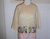 1960s 1970s Vintage Cream Mohair Wool Flora Cardigan Sweater