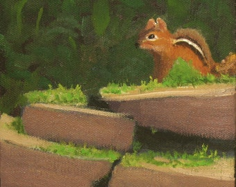 "Animal painting, chipmunk, cute animals,  child's room decor, 6"" x 6"", no frame needed."