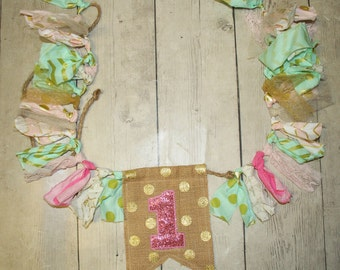 Mint, Pink and Gold Shabby BUNTING, Flag Banner, Pennant, Nursery Decor, Photo Prop-First Birthday, Cake Smash, Twinkle twinkle little star