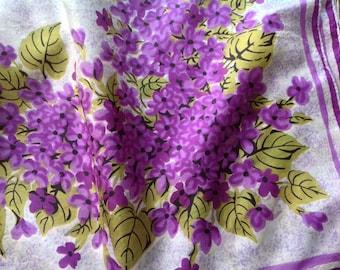 Carol Stanley Pure Silk Scarf - Large - Purple Flowers