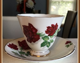 Old Royal Tea Cup and Saucer, Ruby Red Roses, Bone China, England, 1945 to 1963