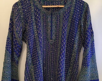 ON SALE Rare Blue Silk Bohemian Indian Tunic • Hand Stitched Indian Tunic • Vintage Tunic Top • Bohemian Top • Boho Tunic • Indian Hippie To