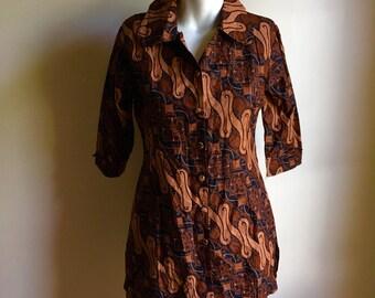 Indonesian Batik Blouse Top • Black and Brown Cotton Batik Blouse • Jacket Top