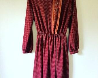 ON SALE 70s Ruby Red Dress • Bohemian Dress • Retro 1970s Dress