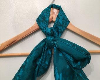 60s Green Silk Long Scarf • Marble Print Scarf • Rare Scarf • Necktie • Neck Scarf