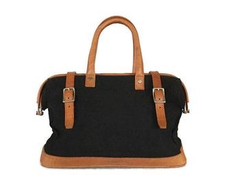 Vintage Ralph Lauren Bag, Canvas and Leather Doctors Bag, Travel Bag, Handbag