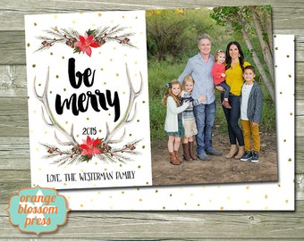 Chalkboard christmas photo christmas holiday card photo christmas holiday card personalized christmas card antlers watercolor gold foil dots m4hsunfo