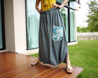 Plus Size Comfy Pants - Boho Funky Harem Unisex Dusty Airforce Cotton Capri Pants With 1 pocket Freesize Can Fit Size12 To 3X - SM701