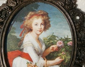 Small Ornate Italian Metal Frame with Print of a Pretty Girl with Roses