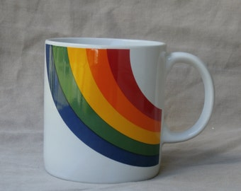 1980s Rainbow Coffee Mug, Vintage Made in Korea Coffee Cup