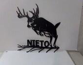 Custom Metal Sign Deer 002 Medium with Name Rustic Yard Art