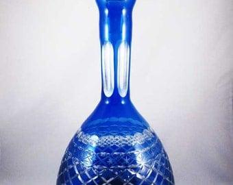 Cobalt Blue Cut Crystal Crosshatch Pattern Decanter Bavarian