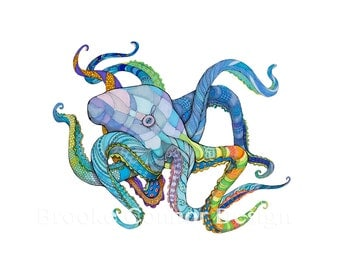 The Octopus Ocean in Color Print of Original Illustration