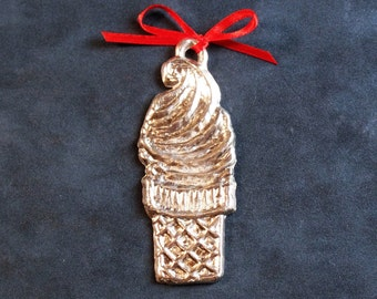 Pewter Ice Cream Cone Ornament