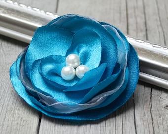 Flower BROOCH, Pin Petal Flower Pin, handmade brooch, handmade rose, turquoise flower pin, women accessories