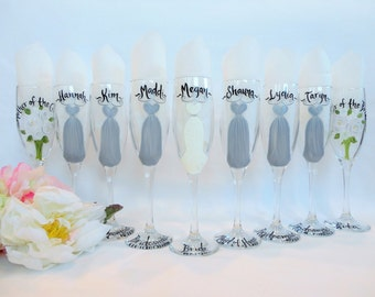 Personalized Bridesmaid Wine Glasses - Hand Painted Wine Glasses - Bridesmaid Wine Glasses, Bridal Gifts, Bridesmaid Champagne Flutes