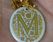 Vintage Avon Monogram Necklace, Gold Tone Chain and Ceramic Pendant, M Initial Jewelry, Under 15 Dollars Christmas Gift