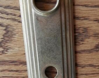 1 vintage brass art deco door plate