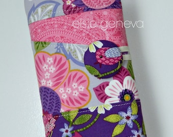 Made to Order Birds Floral Paisley Pink Purple Spill Proof  Interchangeable Circular Knitting Needle Case Organizer DPN COMBO Personalized