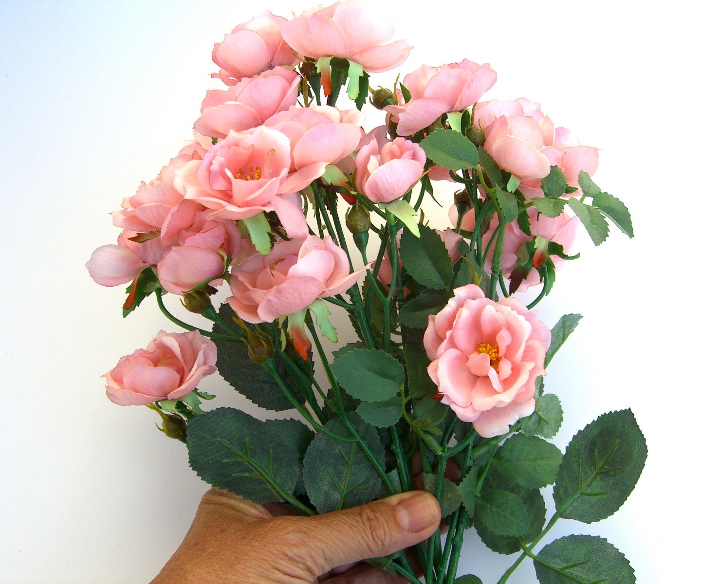 Wild Roses Peach Pink Floral Craft Supply Artificial