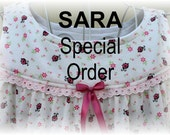 SARA--Special Order Girls' Nightgown-Size 3 // 100% Cotton-Knit // Pink Lady Bug Dress, Tea Length