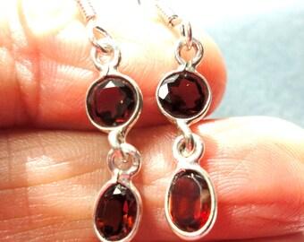 Garnet Earrings Gemstone Dangle Earrings in Sterling Silver