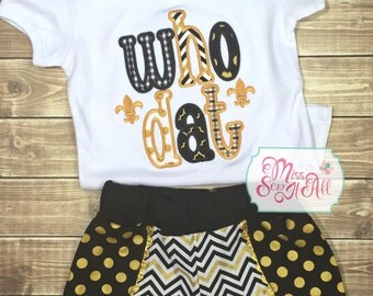 Girls WhoDat Black and Gold Shirt and Shorts Set, Girls Louisiana Football Outfit