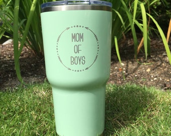 "Custom ""Boy Mom"" RTIC, YETI vacuum insulated tumbler, powder coated and laser engraved/etched"