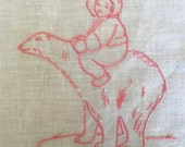 Antique Embroidered Quilt Square Polar Bear and Girl