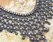 Antique Steel Necklace Tribal Jewelry Metal Mesh Bib