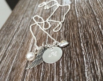 Personalized mommy necklace, Angel baby, Hand stamped necklace, Hand stamped Jewelry, Angel Wing charm