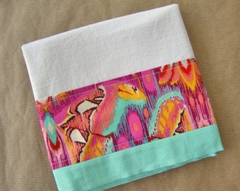 Modern Butterfly Flour Sack Towel - Hot Pink Aqua Kitchen Dish Towel - Lint Free Tea Towels - Fabric Trimmed Towel - Embellished Towel