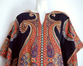 Vintage 70s Pakistani Maxi Length Dashiki Style Pullover Dress sz L Angel Sleeves Black Combo Iram Hand Printed Cotton