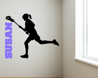 Personalized Girl Lacrosse Wall Decal Custom Removable Larcrosse Wall Sticker Art Graphics