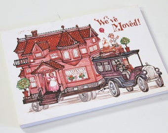Vintage Postcards vintage We've Moved Postcard set Retro Victorian house dress Illustrations moving postcards cards unused vintage postcards
